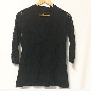 Alfani black lace blouse lined Sz MEDIUM